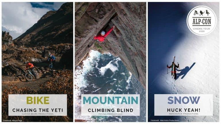 Alp-Con CinemaTour 2020 - Bike: Chasing the Yeti - Mountain: Climbing Blind - Snow: Huck Yeah!